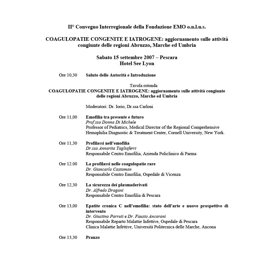 Fondazione EMO - Convegno 2007