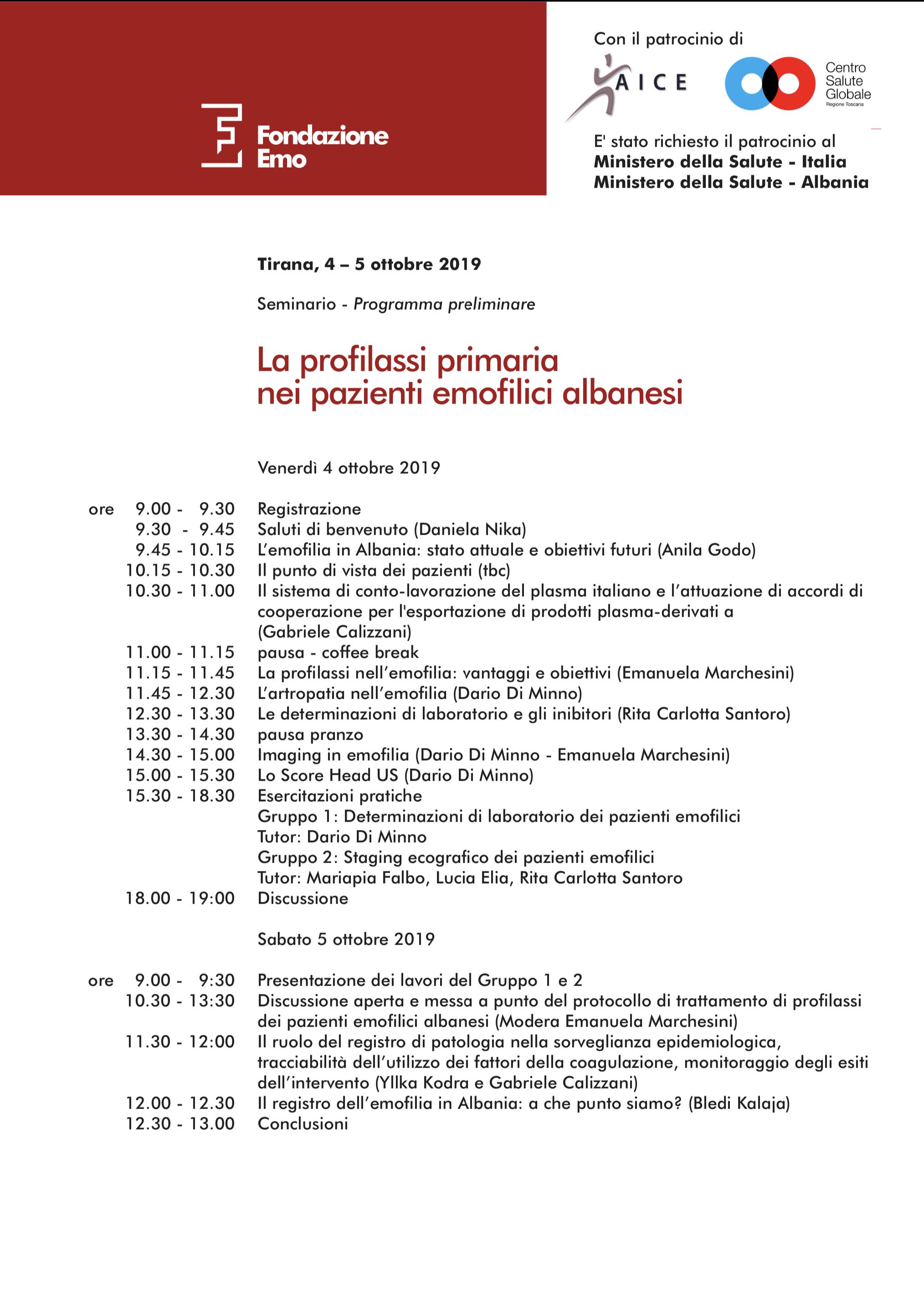 Fondazione EMO - Foto Programma La profilassi primaria nei pazienti emofilici albanesi