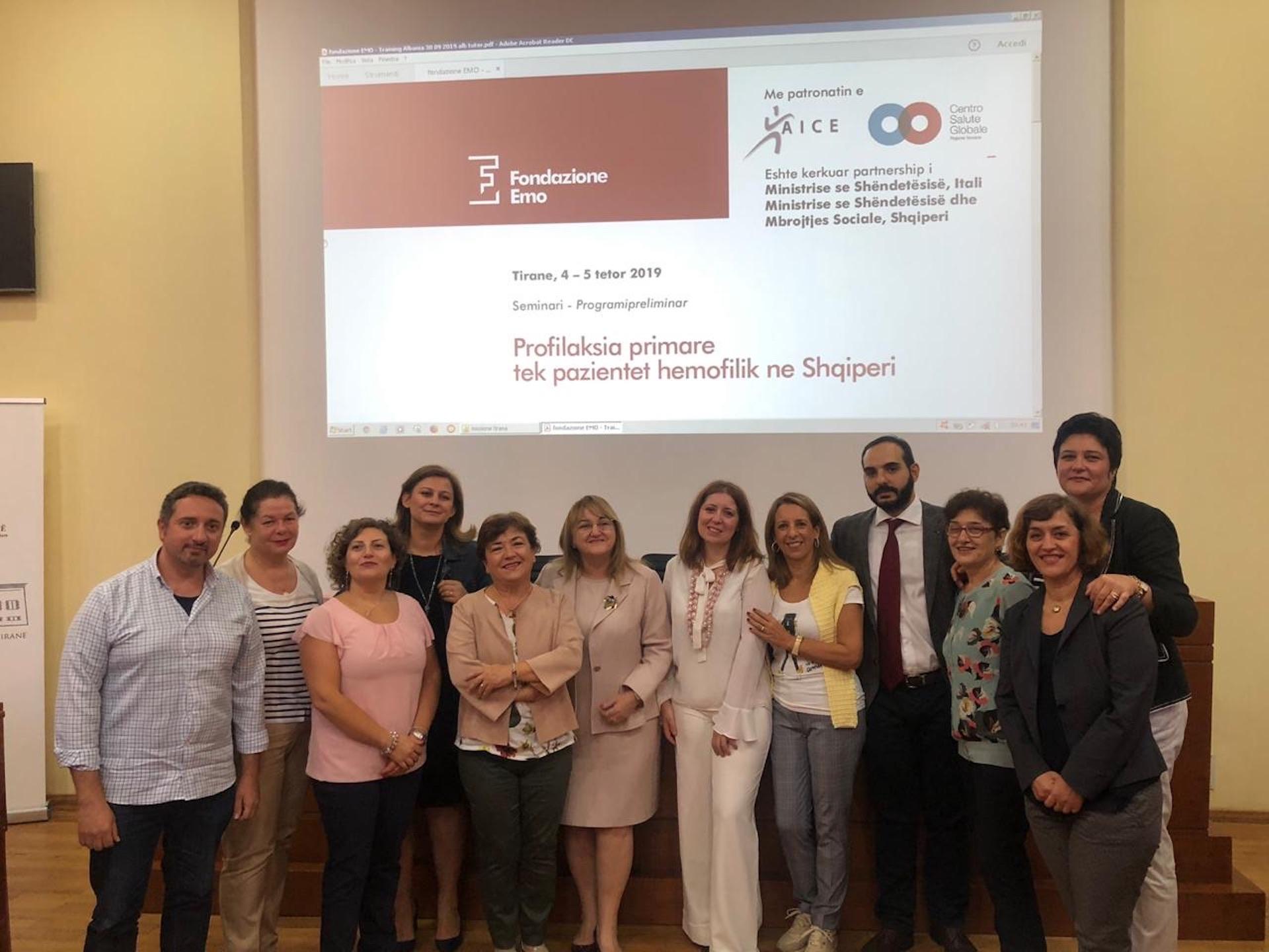 Fondazione EMO-La profilassi primaria nei pazienti emofilici albanesi -Albania-4-5.10.2019-Il team
